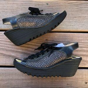 Fly London Yeki Black Suede Wedge Sandals Size 38